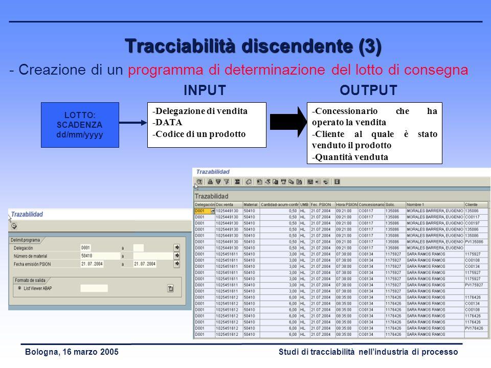 Tracciabilità discendente (3)