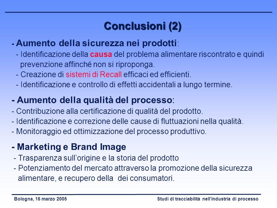 Conclusioni (2) - Aumento della qualità del processo: