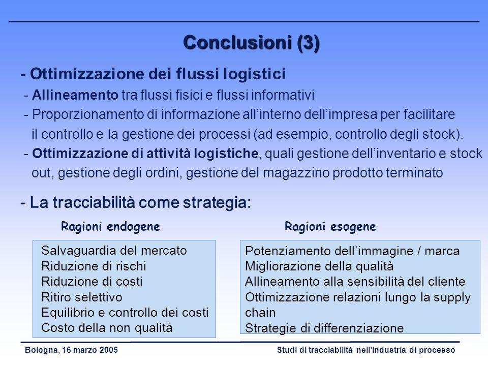 Conclusioni (3) - Ottimizzazione dei flussi logistici