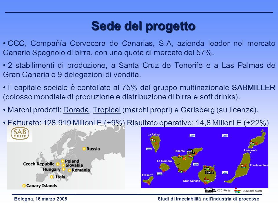 Sede del progetto CCC, Compañía Cervecera de Canarias, S.A, azienda leader nel mercato Canario Spagnolo di birra, con una quota di mercato del 57%.