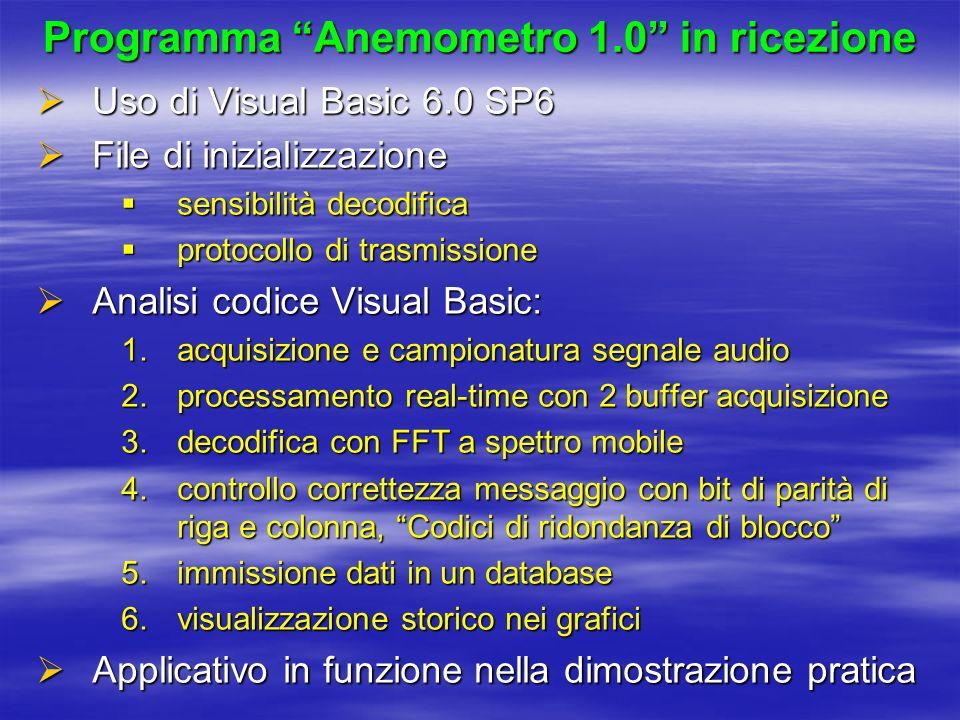 Programma Anemometro 1.0 in ricezione