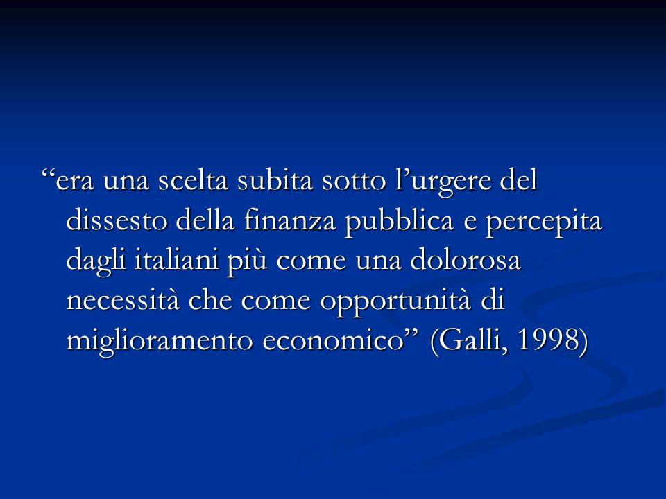 era una scelta subita sotto l'urgere del dissesto della finanza pubblica e percepita dagli italiani più come una dolorosa necessità che come opportunità di miglioramento economico (Galli, 1998)