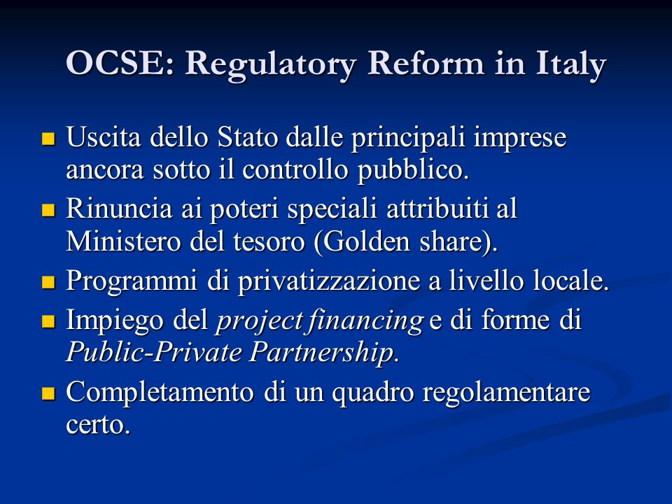OCSE: Regulatory Reform in Italy