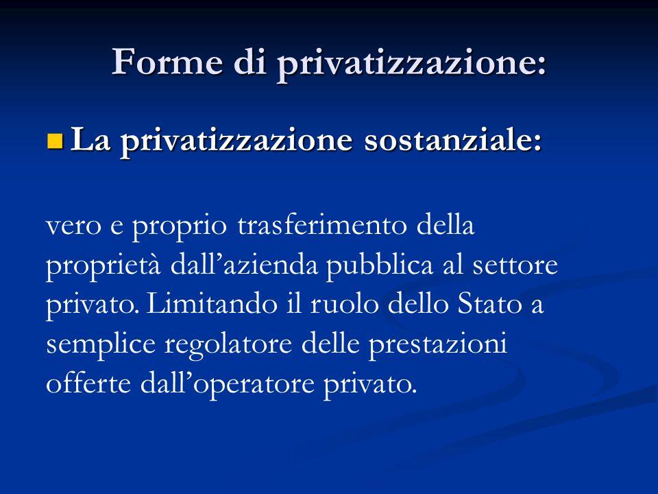 Forme di privatizzazione: