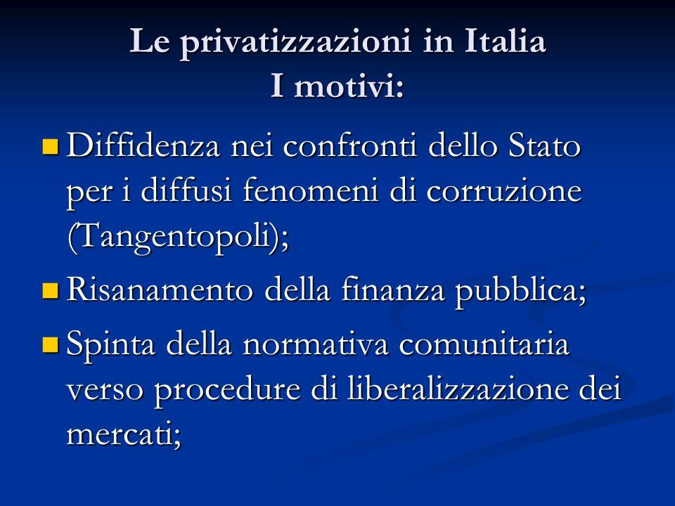 Le privatizzazioni in Italia I motivi: