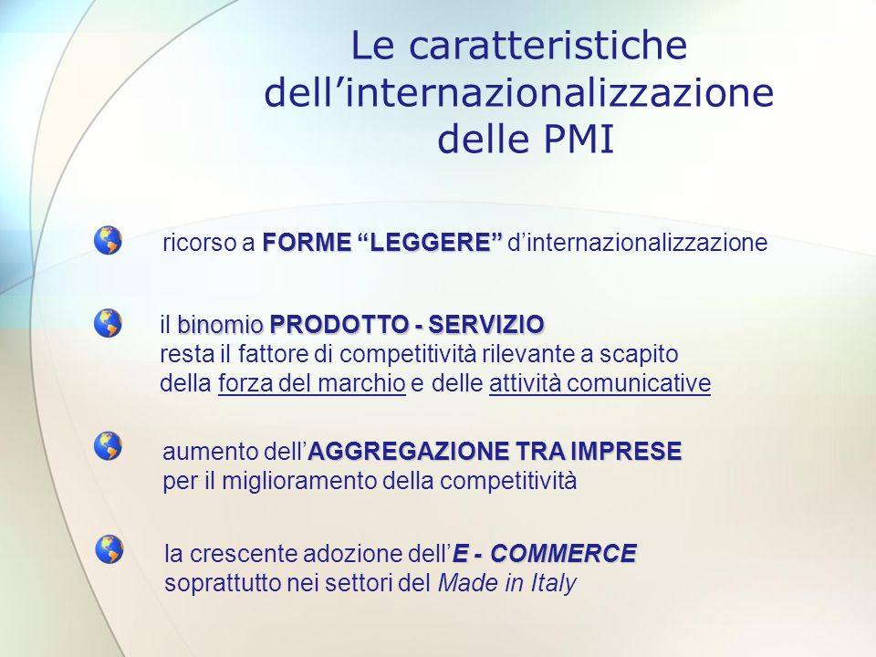 Le caratteristiche dell'internazionalizzazione delle PMI
