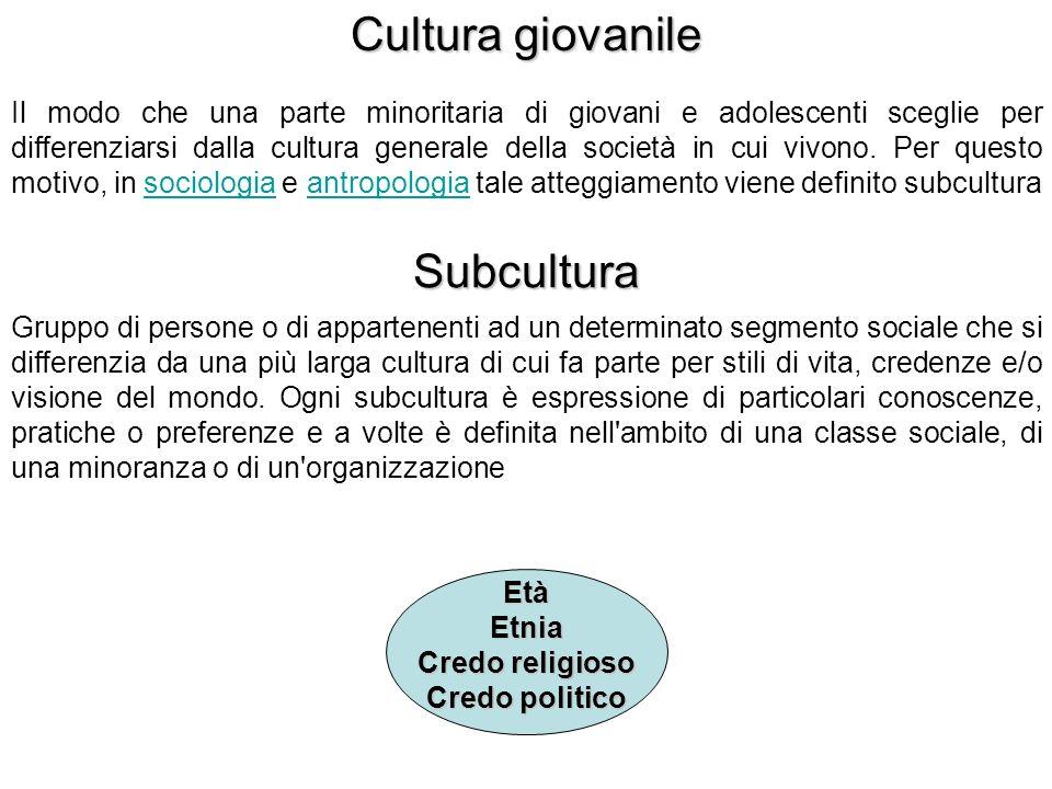 Cultura giovanile Subcultura
