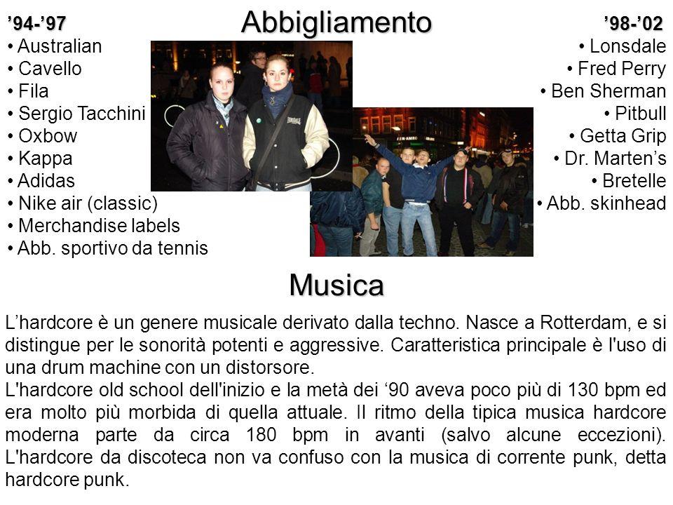 Abbigliamento Musica '94-'97 Australian Cavello Fila Sergio Tacchini