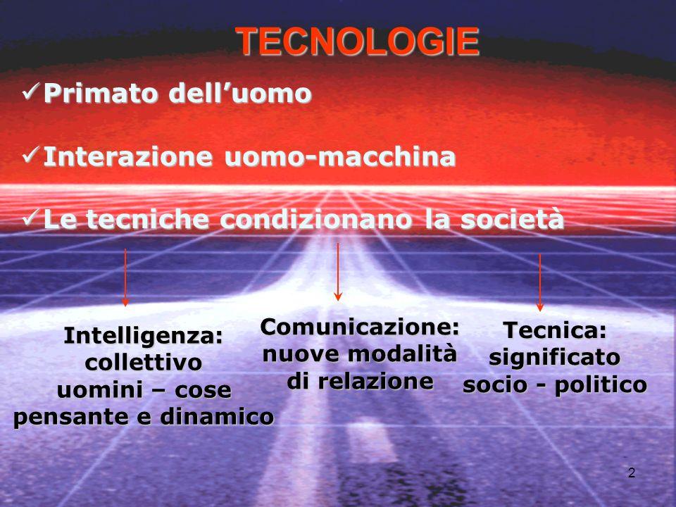 TECNOLOGIE Primato dell'uomo Interazione uomo-macchina