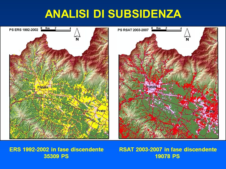 ANALISI DI SUBSIDENZA ERS 1992-2002 in fase discendente RSAT 2003-2007 in fase discendente.