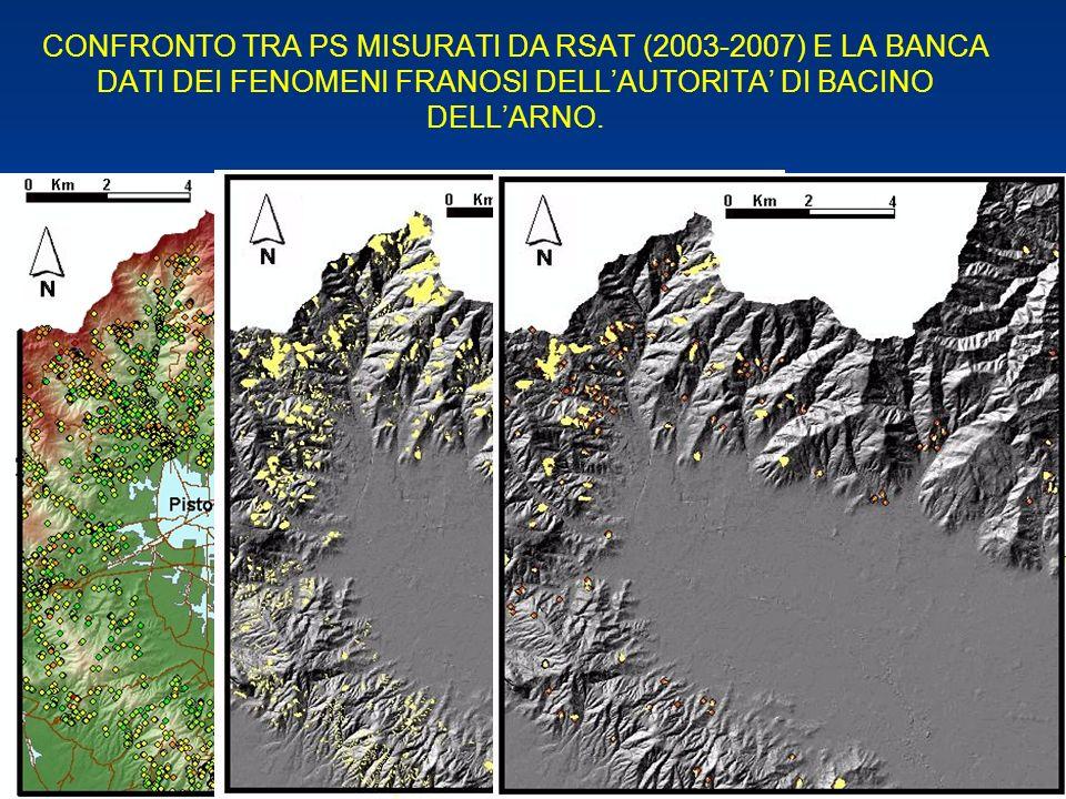 CONFRONTO TRA PS MISURATI DA RSAT (2003-2007) E LA BANCA DATI DEI FENOMENI FRANOSI DELL'AUTORITA' DI BACINO DELL'ARNO.