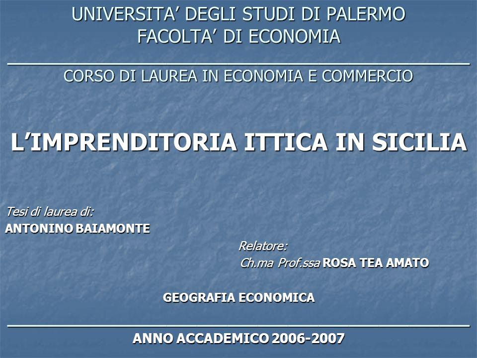 L'IMPRENDITORIA ITTICA IN SICILIA