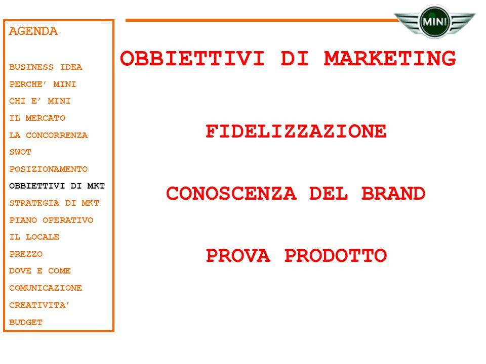 OBBIETTIVI DI MARKETING