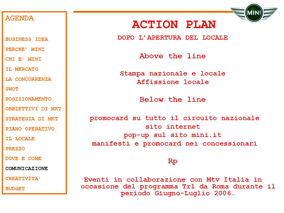 ACTION PLAN AGENDA Above the line Below the line Rp
