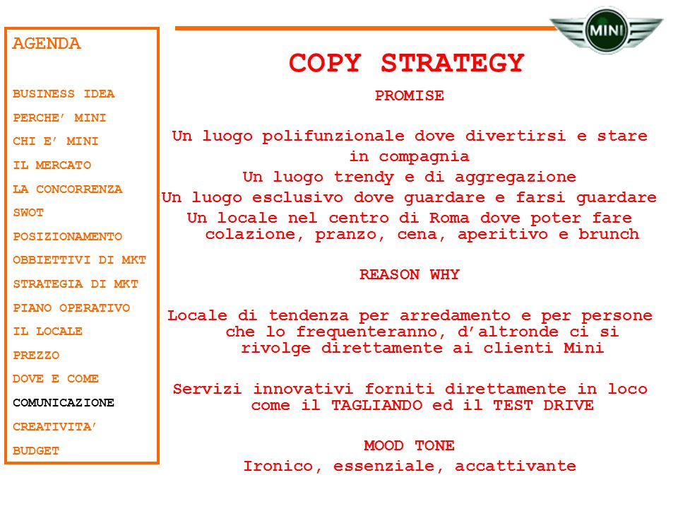 COPY STRATEGY AGENDA PROMISE