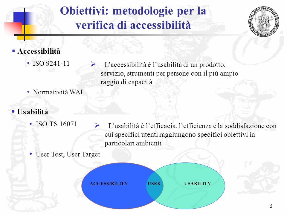 Obiettivi: metodologie per la verifica di accessibilità