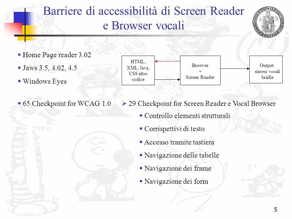 Barriere di accessibilità di Screen Reader e Browser vocali