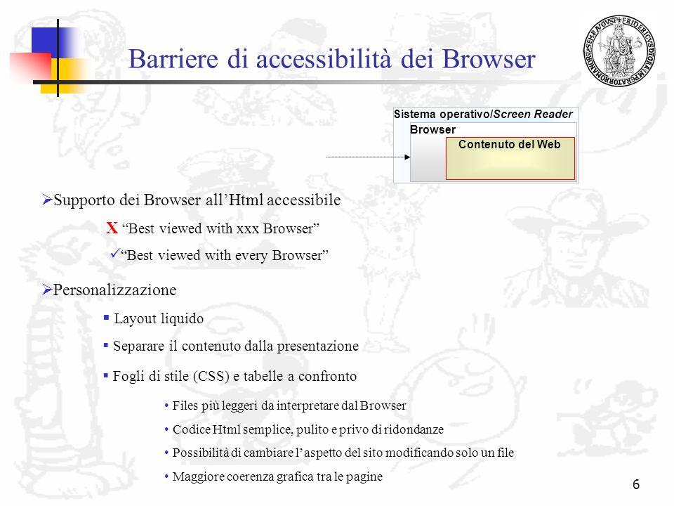 Barriere di accessibilità dei Browser