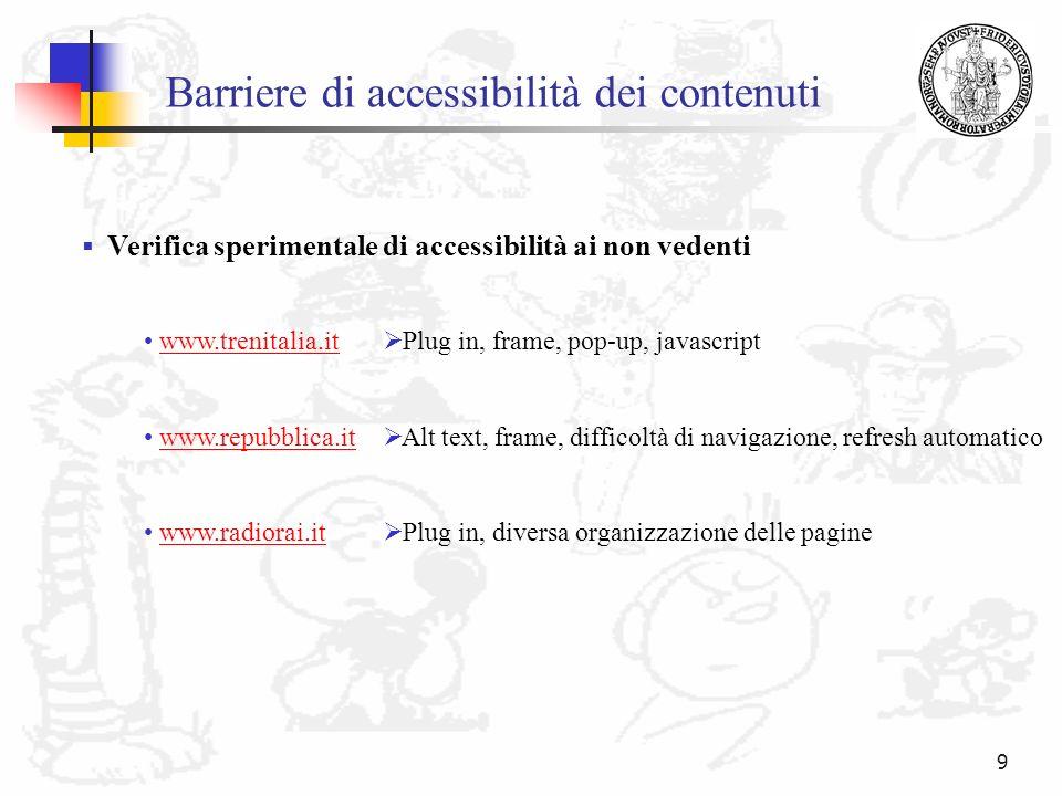 Barriere di accessibilità dei contenuti