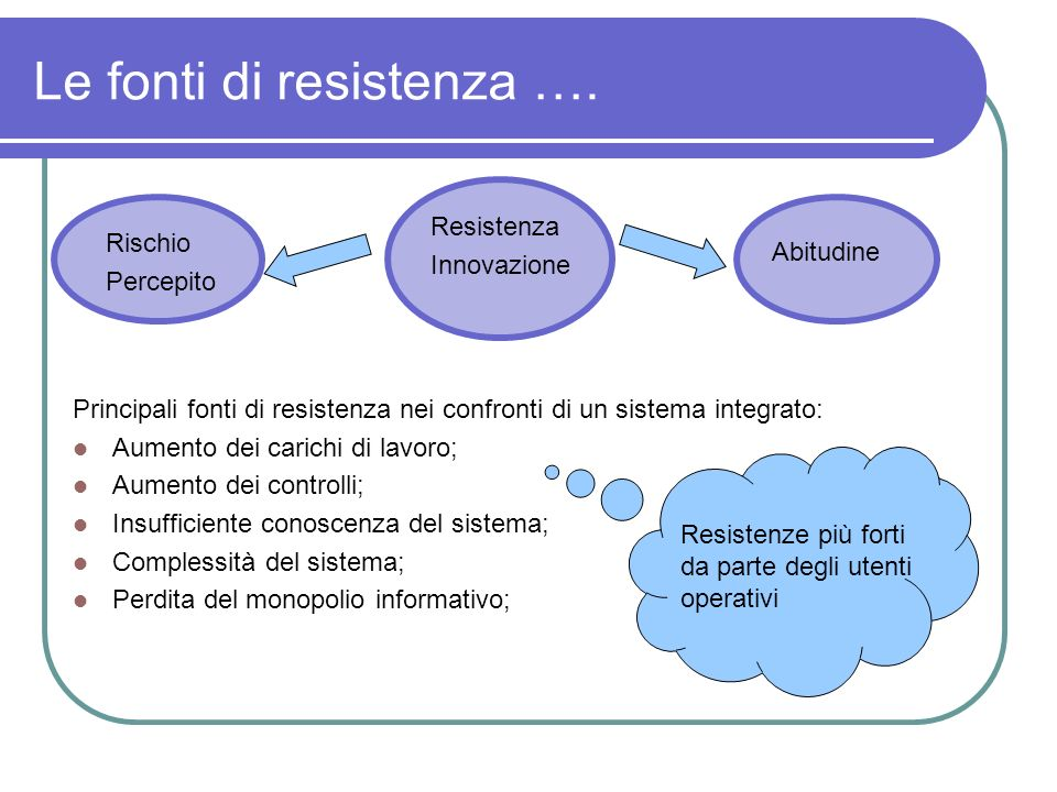 Le fonti di resistenza ….
