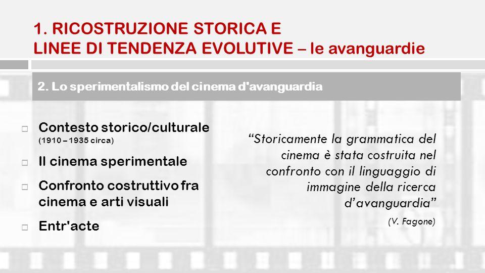 1. RICOSTRUZIONE STORICA E LINEE DI TENDENZA EVOLUTIVE – le avanguardie