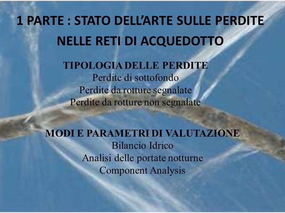 1 PARTE : STATO DELL'ARTE SULLE PERDITE NELLE RETI DI ACQUEDOTTO