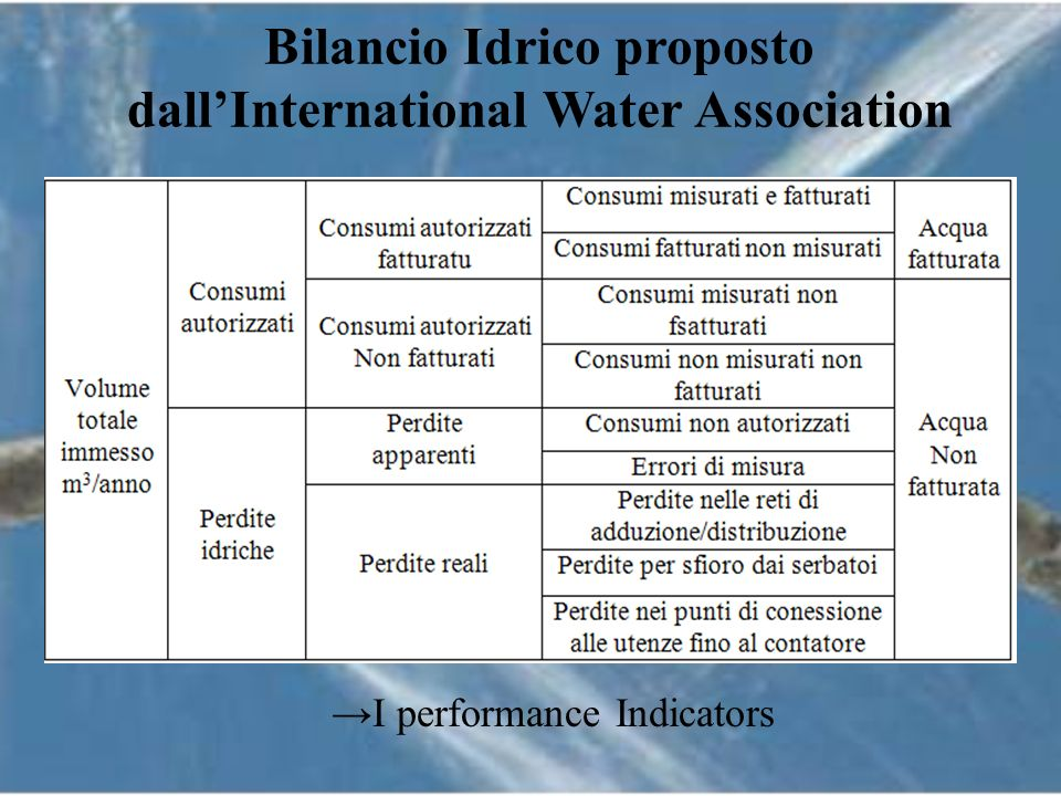 Bilancio Idrico proposto dall'International Water Association