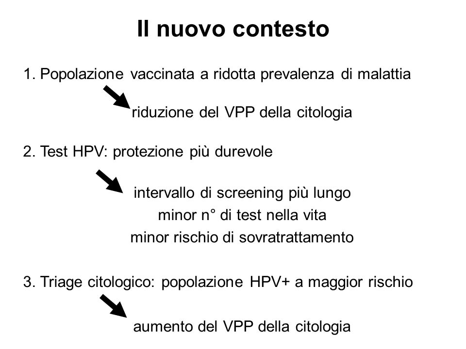 Il nuovo contesto1. Popolazione vaccinata a ridotta prevalenza di malattia. riduzione del VPP della citologia.