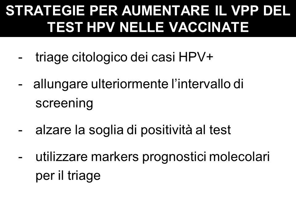 STRATEGIE PER AUMENTARE IL VPP DEL TEST HPV NELLE VACCINATE