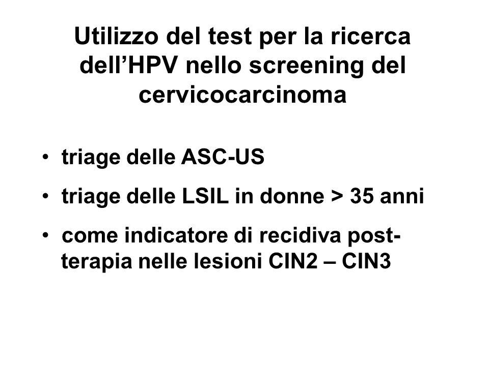 Utilizzo del test per la ricerca dell'HPV nello screening del cervicocarcinoma