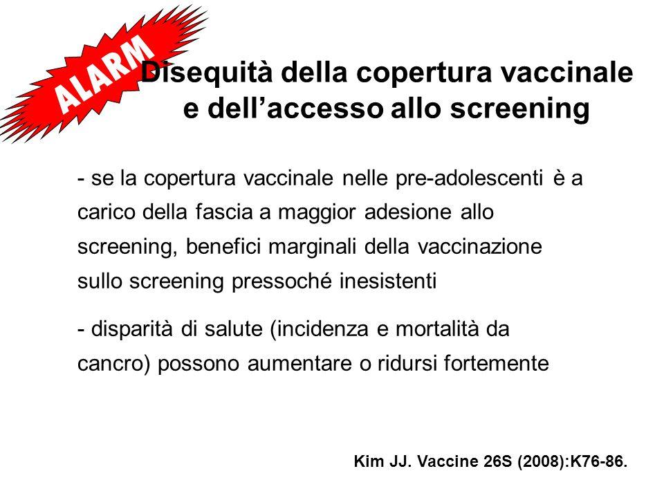 Disequità della copertura vaccinale e dell'accesso allo screening
