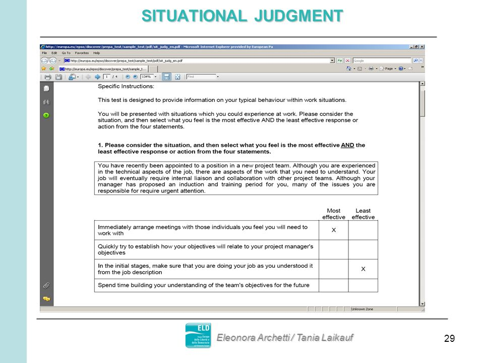 SITUATIONAL JUDGMENT Eleonora Archetti / Tania Laikauf