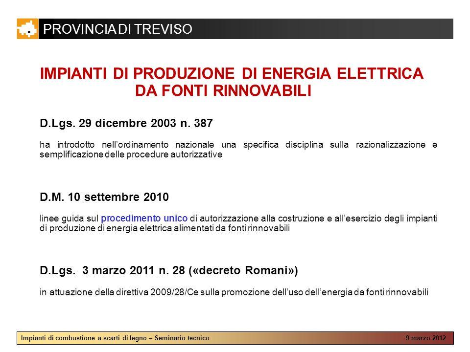 IMPIANTI DI PRODUZIONE DI ENERGIA ELETTRICA DA FONTI RINNOVABILI
