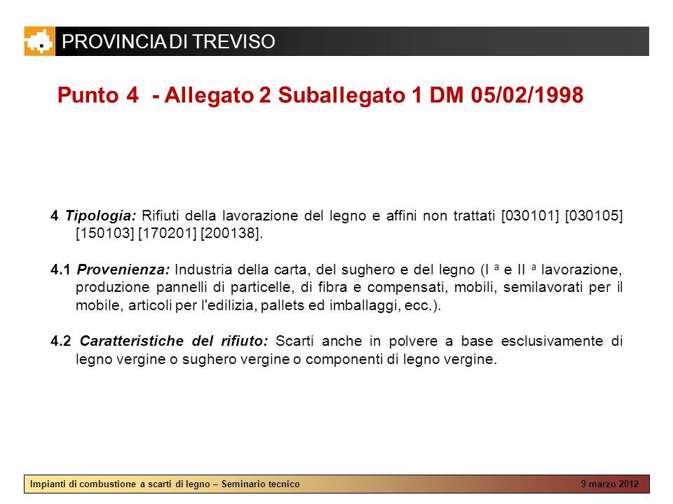 Punto 4 - Allegato 2 Suballegato 1 DM 05/02/1998