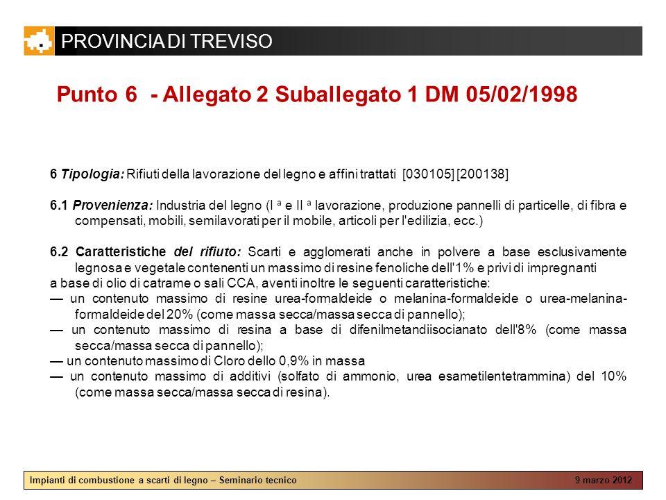 Punto 6 - Allegato 2 Suballegato 1 DM 05/02/1998
