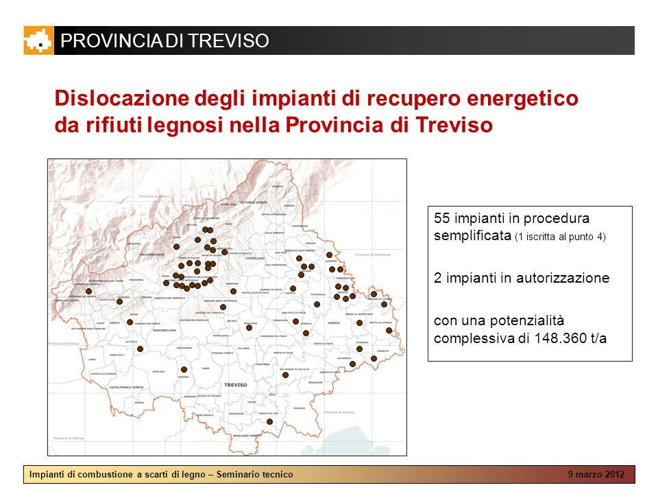 Dislocazione degli impianti di recupero energetico da rifiuti legnosi nella Provincia di Treviso