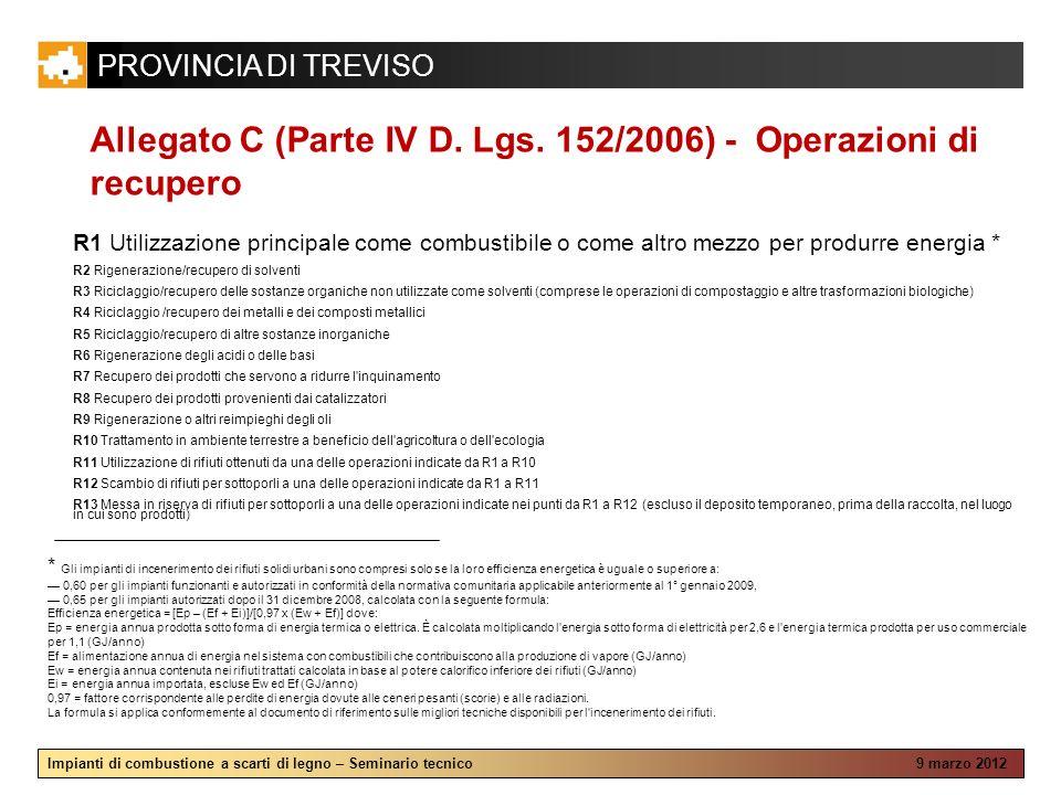 Allegato C (Parte IV D. Lgs. 152/2006) - Operazioni di recupero