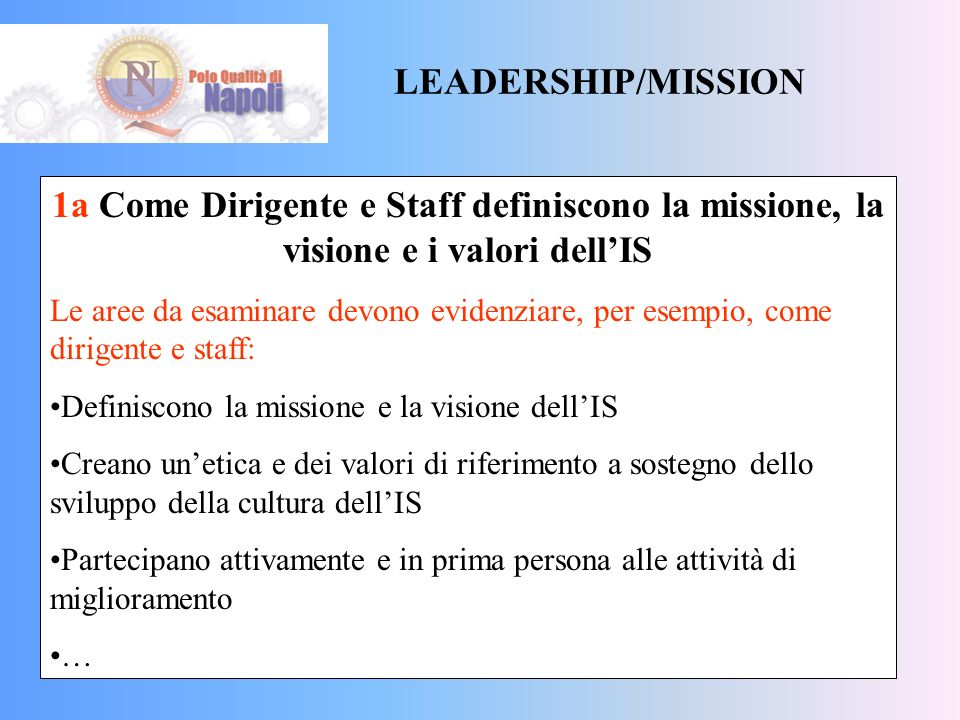 LEADERSHIP/MISSION 1a Come Dirigente e Staff definiscono la missione, la visione e i valori dell'IS.
