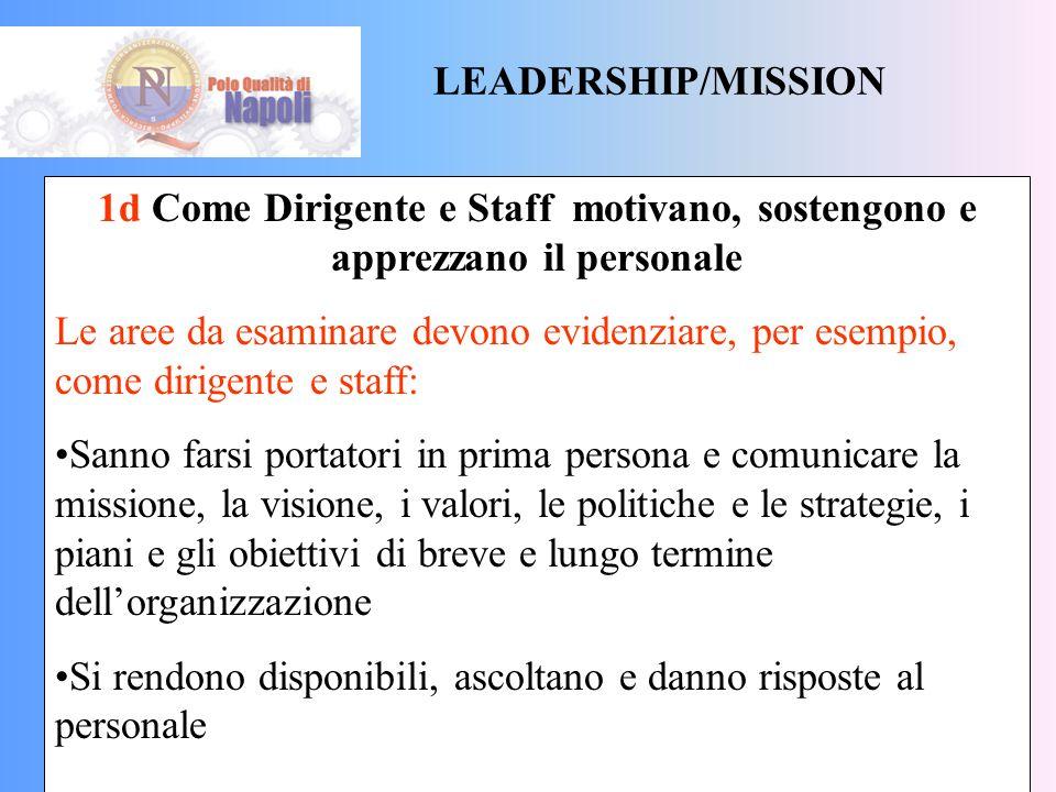 LEADERSHIP/MISSION 1d Come Dirigente e Staff motivano, sostengono e apprezzano il personale.