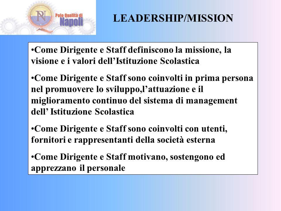 LEADERSHIP/MISSION Come Dirigente e Staff definiscono la missione, la visione e i valori dell'Istituzione Scolastica.