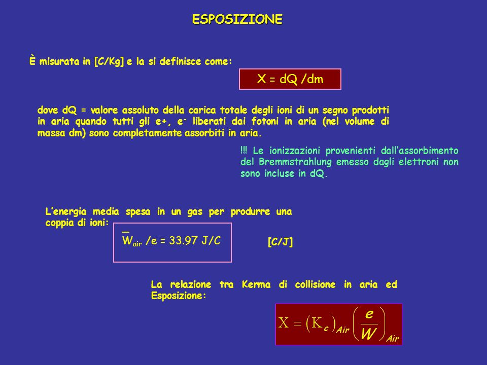 ESPOSIZIONE X = dQ /dm _ Wair /e = 33.97 J/C