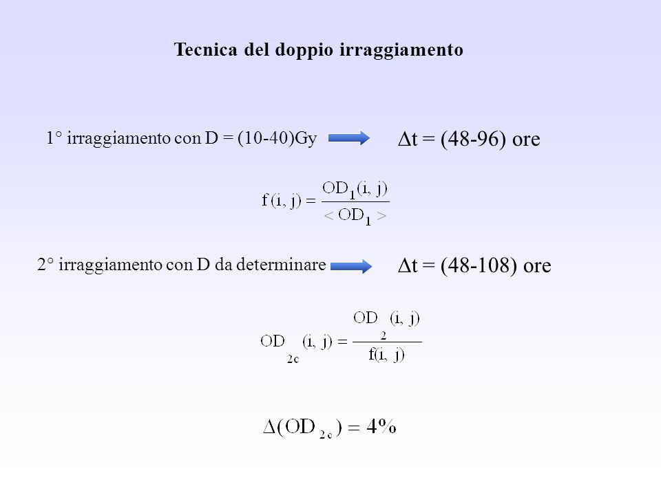 Dt = (48-96) ore Dt = (48-108) ore Tecnica del doppio irraggiamento