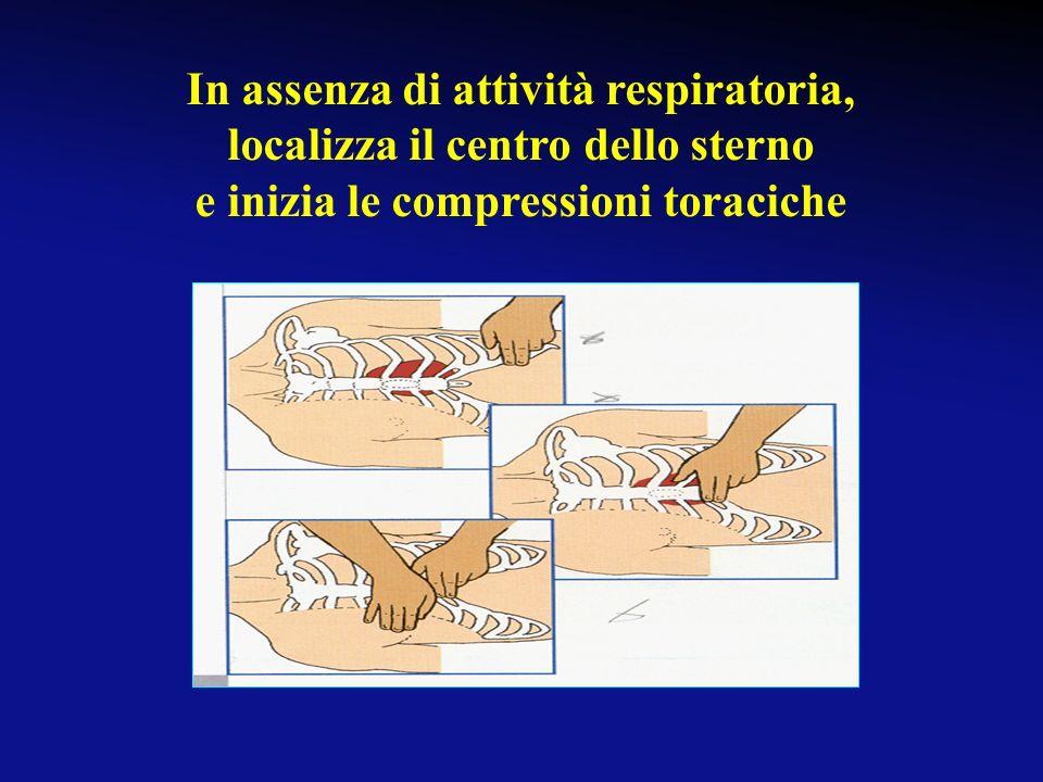 In assenza di attività respiratoria, localizza il centro dello sterno
