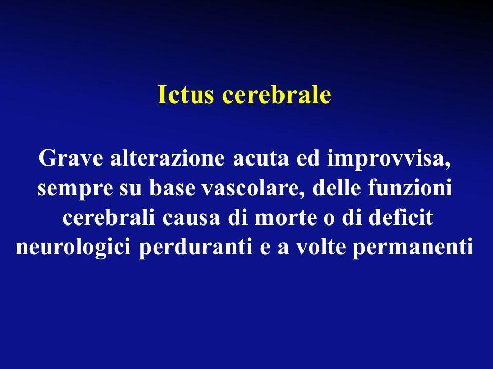 Ictus cerebrale Grave alterazione acuta ed improvvisa, sempre su base vascolare, delle funzioni.