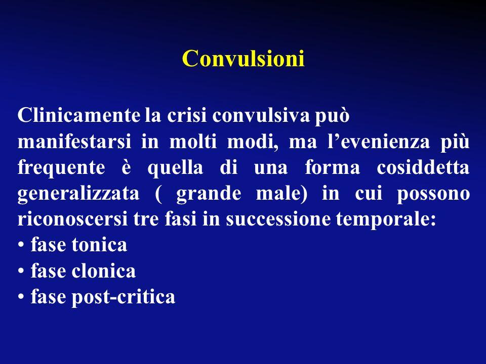 Convulsioni Clinicamente la crisi convulsiva può