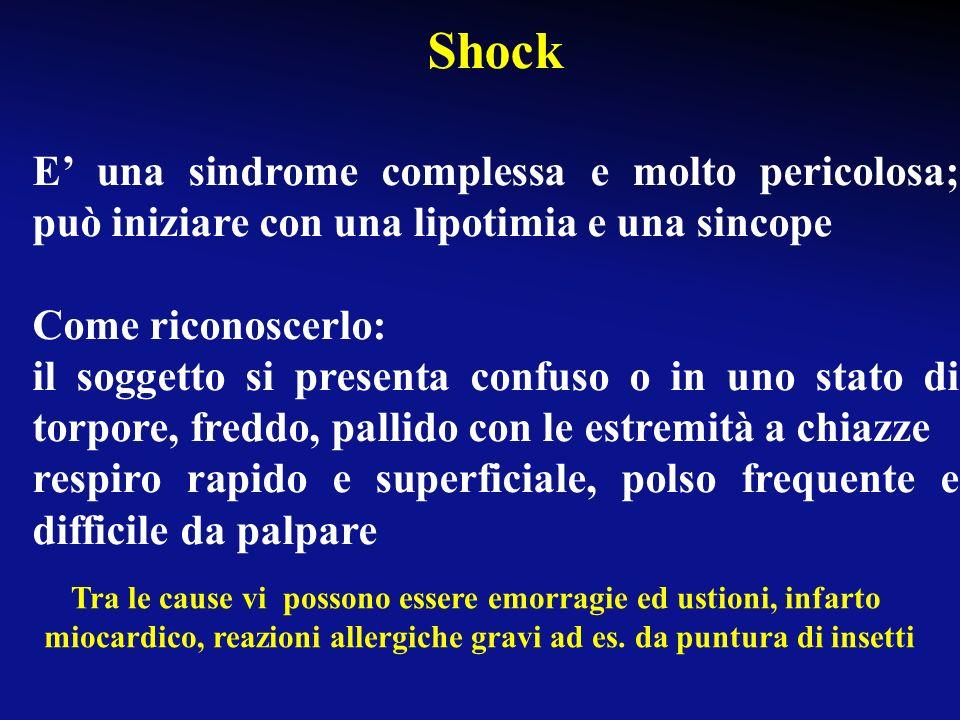 Shock E' una sindrome complessa e molto pericolosa; può iniziare con una lipotimia e una sincope. Come riconoscerlo: