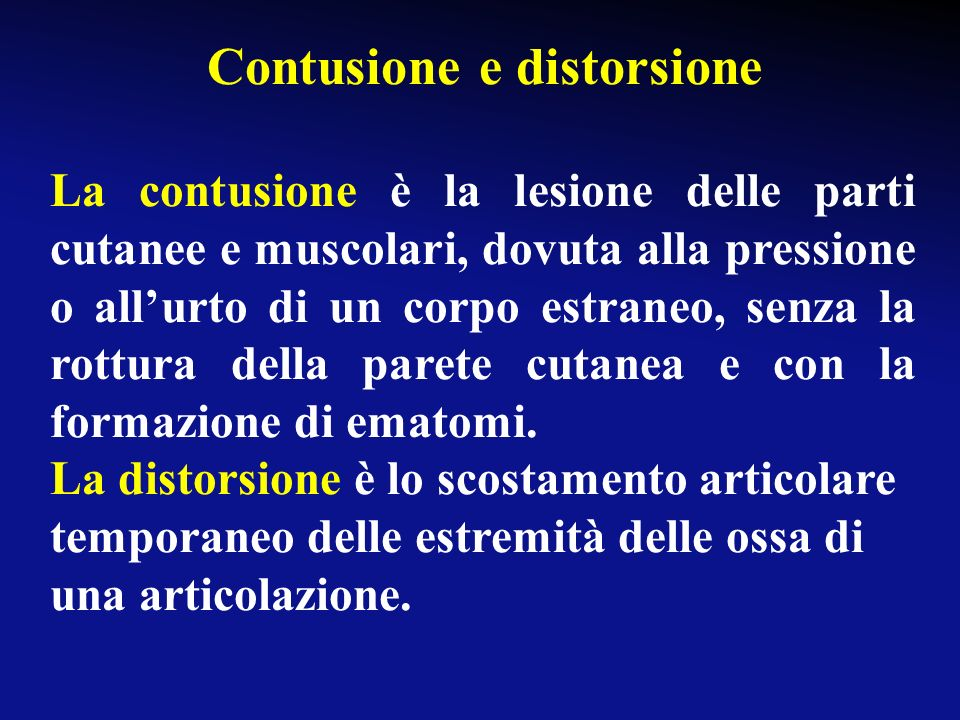 Contusione e distorsione