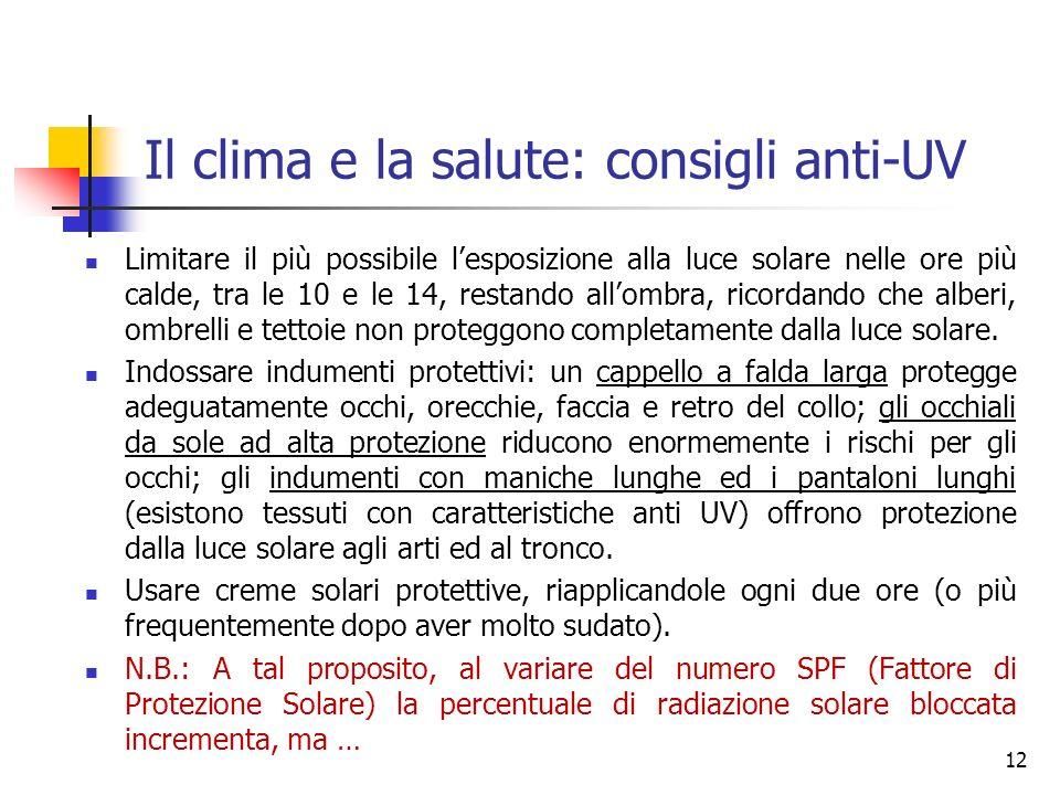 Il clima e la salute: consigli anti-UV