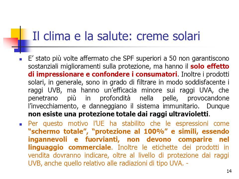 Il clima e la salute: creme solari