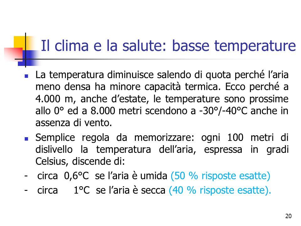 Il clima e la salute: basse temperature